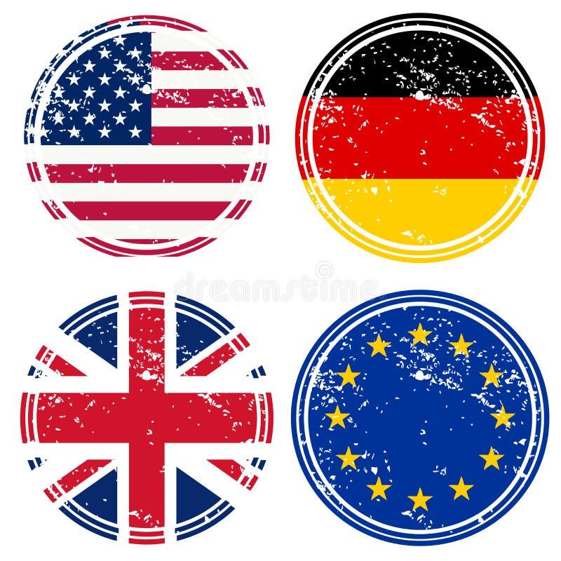 Rubber zegels met vlaggen vector illustratie