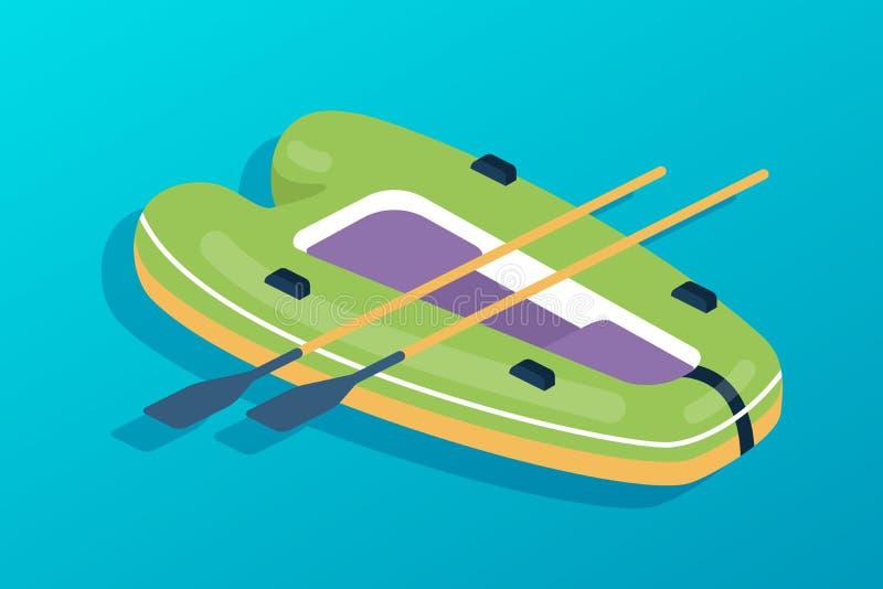 Rubberboot met roeispanen Watervervoer, vissersboot, reis, hobbys royalty-vrije illustratie
