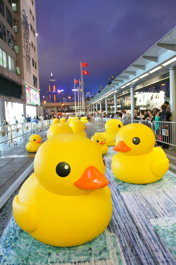 Rubberduck project in Hong Kong royalty-vrije stock afbeelding