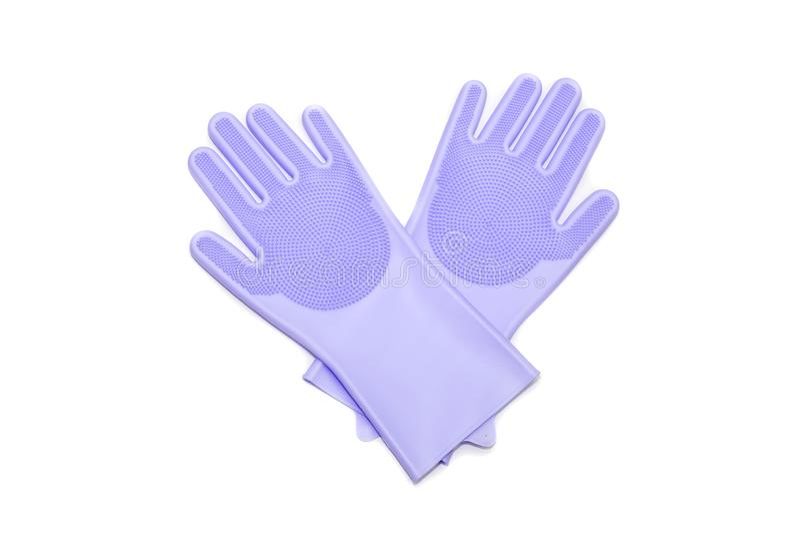 Rubberhandschoenen voor het wassen van schotels en het schoonmaken van het huisclose-up stock afbeeldingen