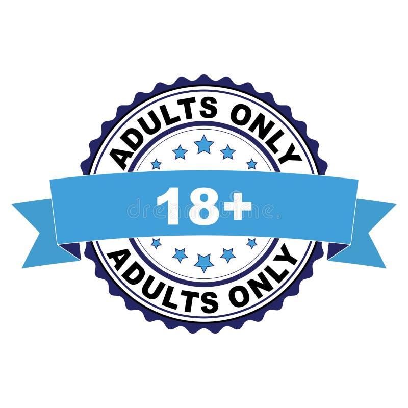 Rubberzegel met 18 plus volwassenen slechts concept stock illustratie