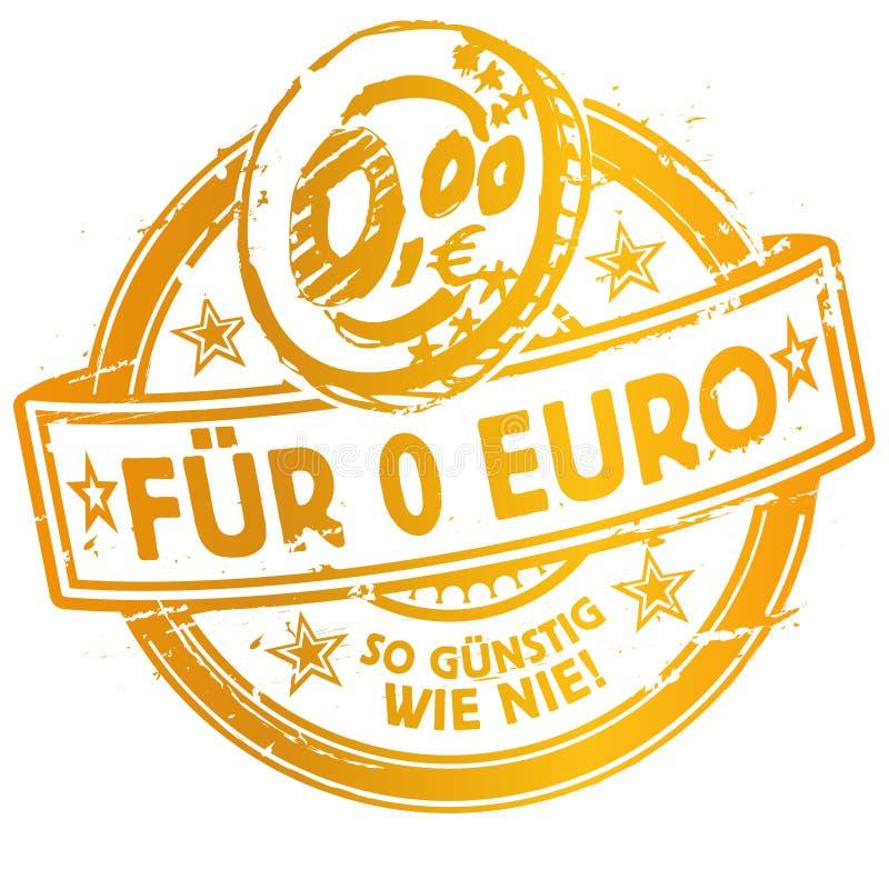 Rubberzegel met voor 0 meer betaalbare Euro royalty-vrije illustratie