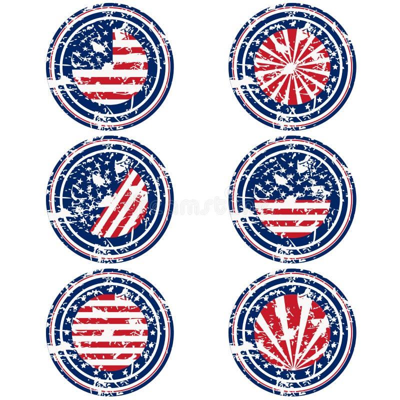 Rubberzegels met de vlag van de V.S. vector illustratie