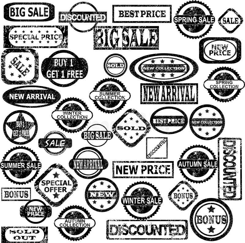 Rubberzegels met verkoopberichten stock illustratie