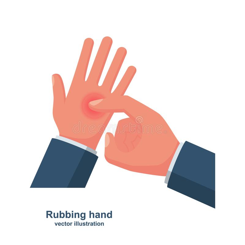 Rubbing hand. Palms and finger close-up vector. Rubbing hand. Palms and finger close-up. Vector illustration flat design. Isolated on white background. Massage royalty free illustration
