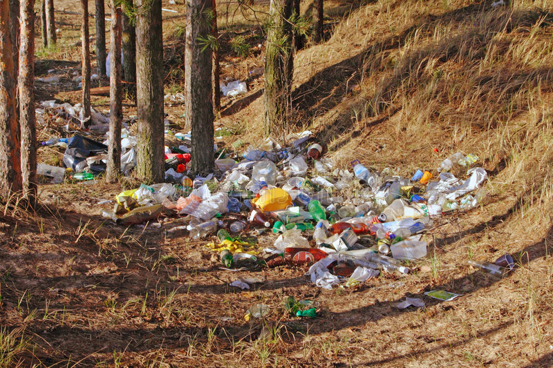 Rubbish. Plastic rubbish in natural forest royalty free stock photo