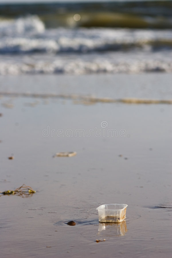 Rubbish on beach royalty free stock images