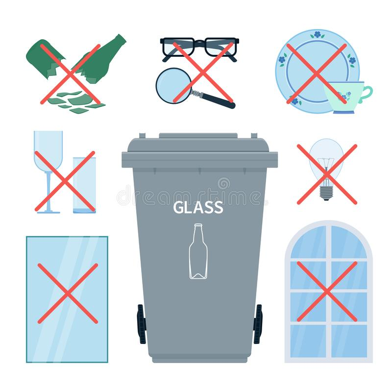 Rubbish bin for collecting glass waste with objects that you mus royalty free illustration