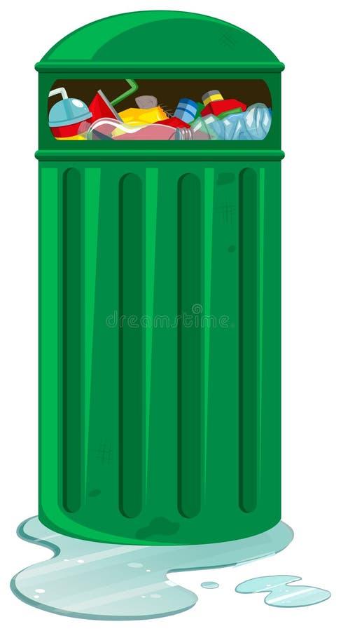 Rubbish bin full of trash stock illustration