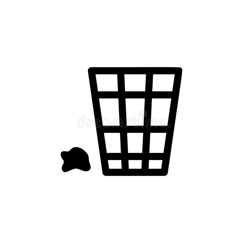 Rubbish Bin icon. Simple glyph vector of universal set icons for UI and UX, website or mobile application. On white background stock illustration