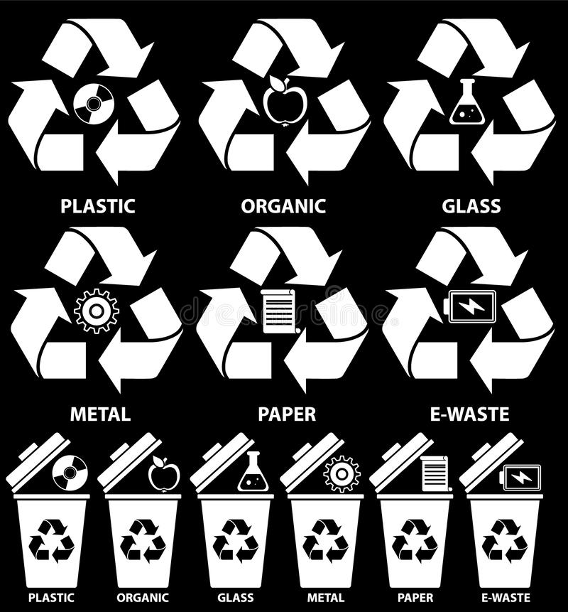 Rubbish bin icons with different types of garbage: Organic, Plastic, Metal, Paper, Glass, E-waste for recycling concept in flat stock illustration
