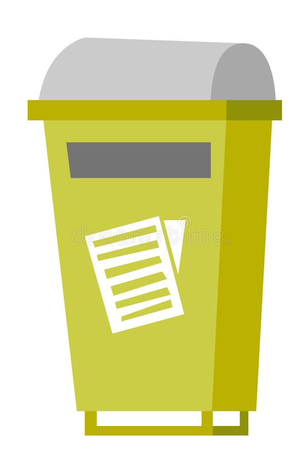 Rubbish bin for paper waste vector illustration. Green rubbish bin for paper waste. Waste segregation and garbage recycling concept. Vector cartoon illustration vector illustration