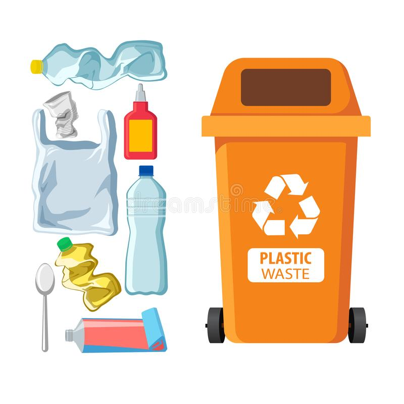 Rubbish bin for recycling different types of waste. Garbage container for plastic trash vector infographics vector illustration