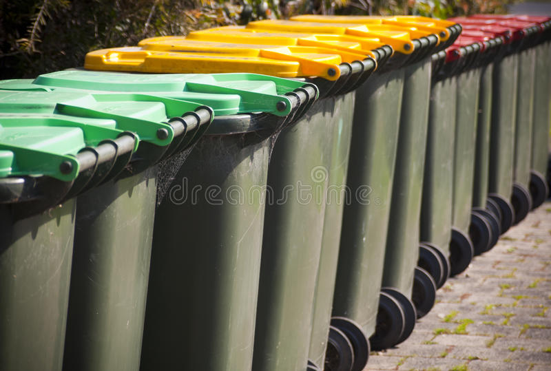Rubbish Bins. Row of large green rubbish bins for rubbish / recycling stock images