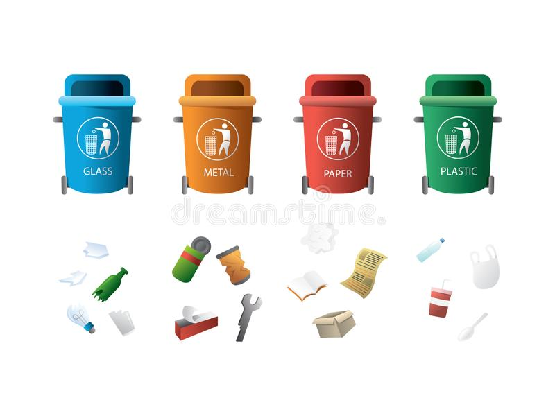 Containers for garbage of different types. Rubbish bins with different types of waste for recycling concept. Paper products, food waste, glass and plastic waste royalty free illustration