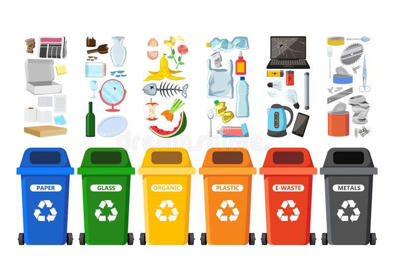 Rubbish bins for recycling different types of waste. Garbage containers vector infographics stock illustration