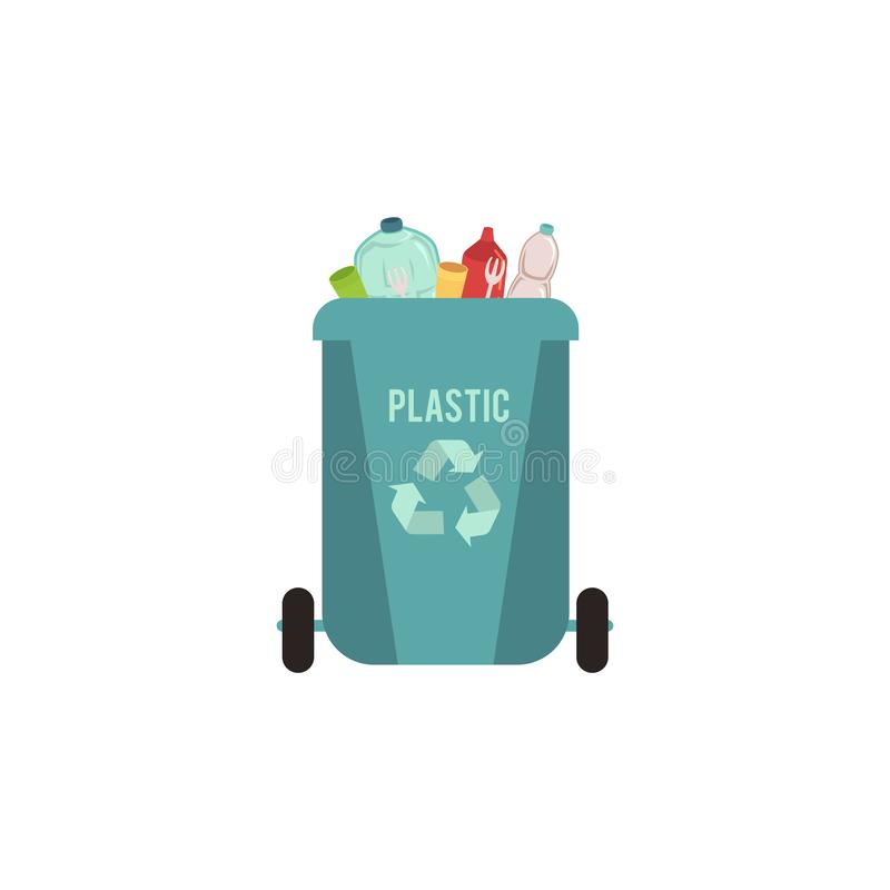 Rubbish blue bin with plastic waste. Garbage sorting type for recycling. stock illustration