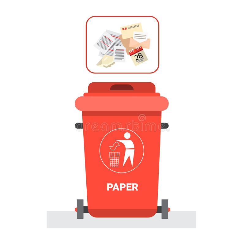 Rubbish Container For Paper Waste Icon Recycle Sorting Garbage Concept Logo. Vector Illustration stock illustration