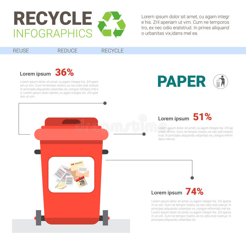 Rubbish Container For Paper Waste Infographic Banner Recycle Sorting Garbage Concept. Vector Illustration royalty free illustration