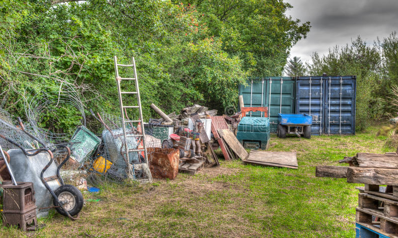 Rubbish in garden royalty free stock photography