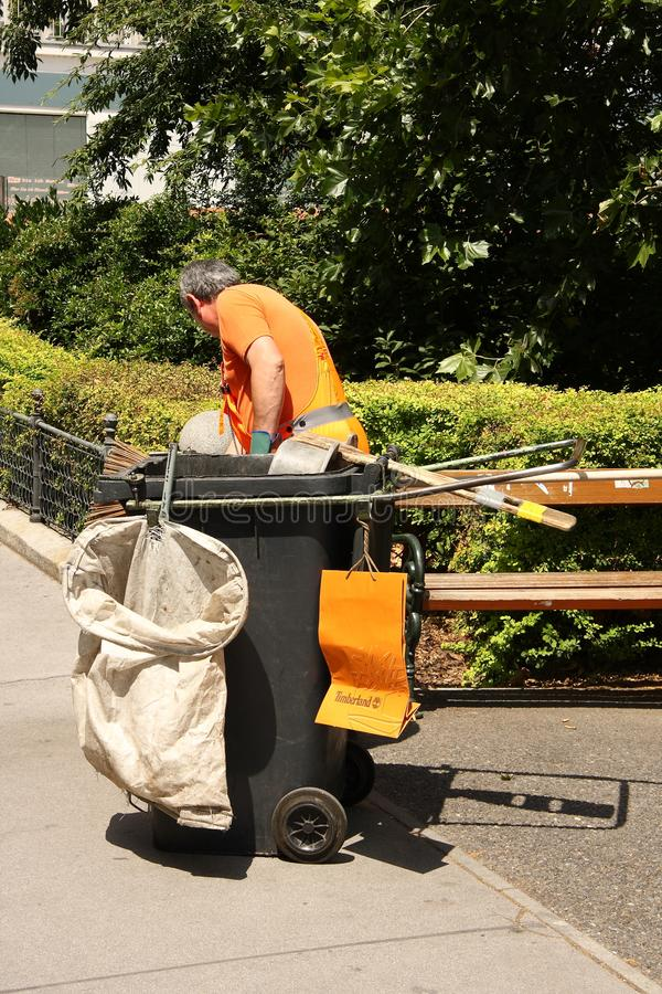 Rubbish man in Vienna stock images