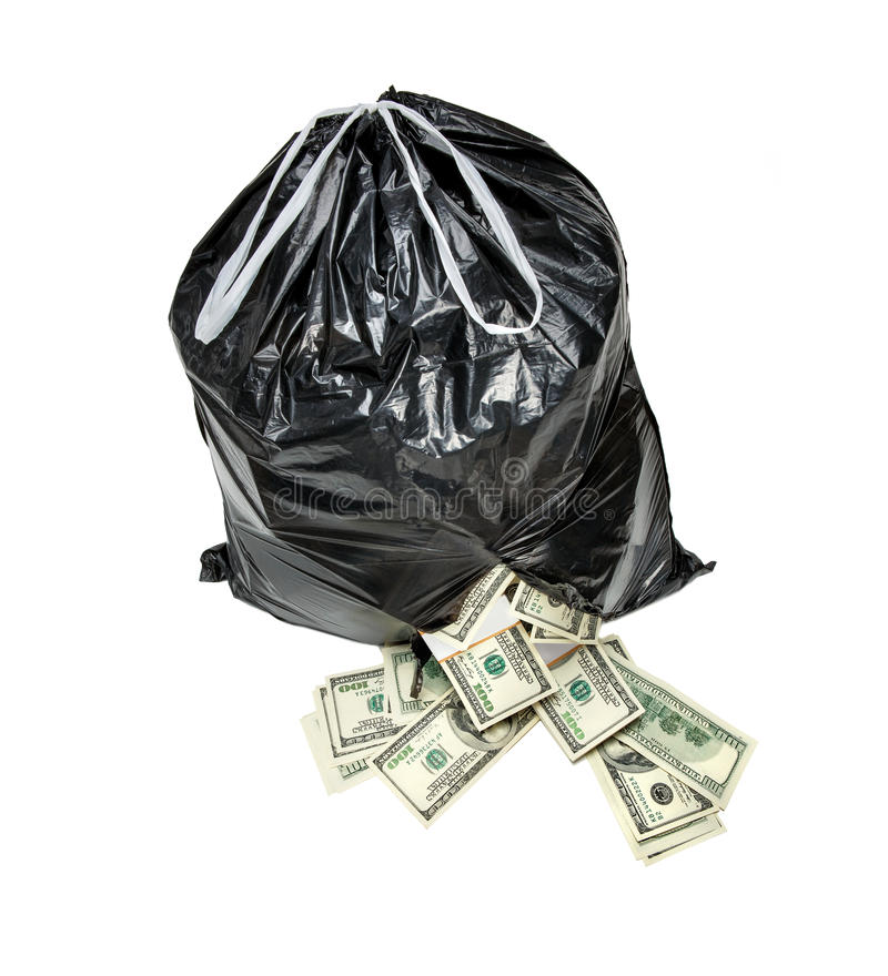 Rubbish is money. Studio photography of black plastic bag with hundred dollar bills on a white background stock images