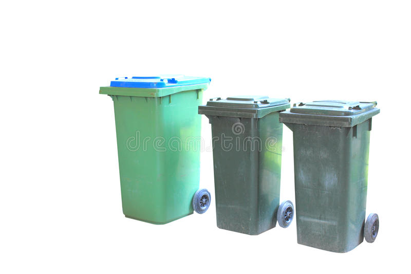 Rubbish and recycle bins isolated