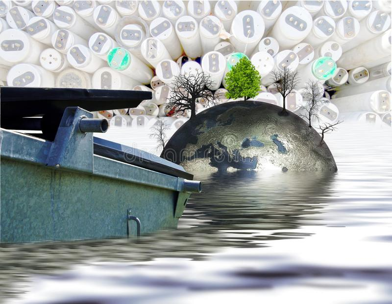 Rubbish removal container and grey planet earth in water with dead trees and one green tree standing on background of fluorescent royalty free illustration
