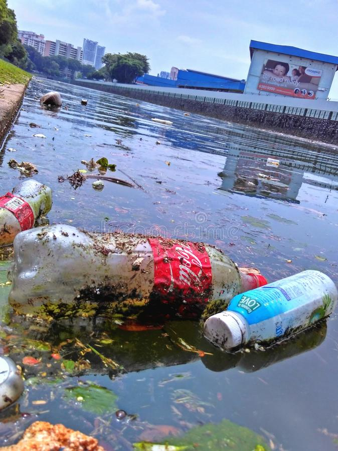 Rubbish in river royalty free stock photography