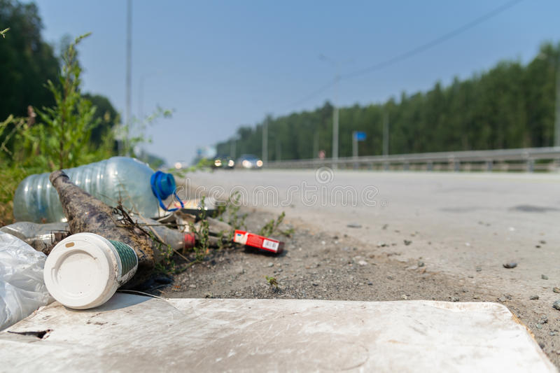 Rubbish by the roadside stock photo