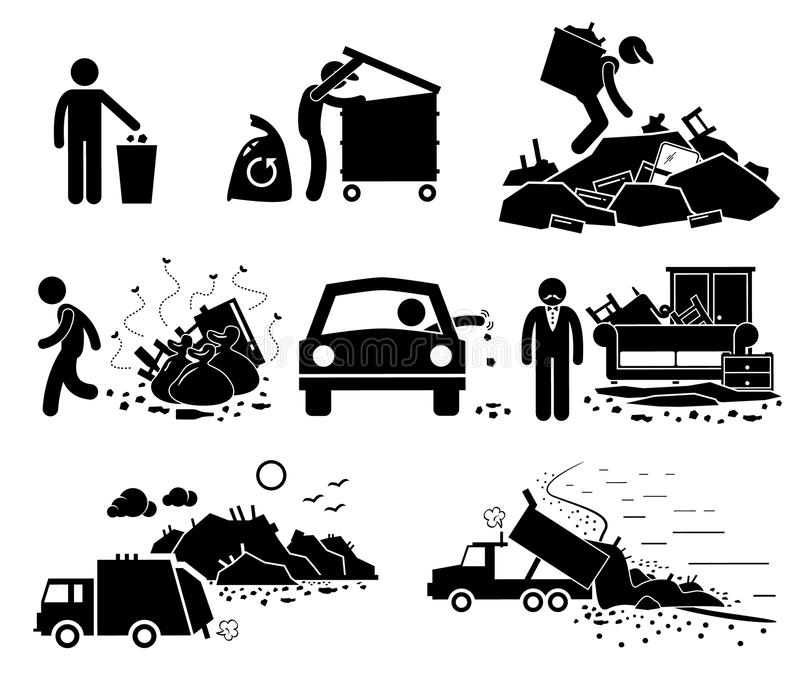 Rubbish Trash Garbage Waste Dump Site Cliparts Icons. A set of human pictogram representing rubbish and trash thrown by irresponsible people. It also represent royalty free illustration