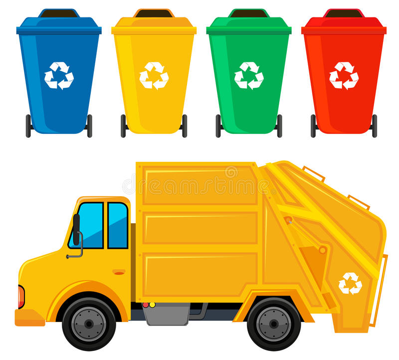 Free Rubbish Truck In Yellow Color And Four Trashcans Stock Photo - 80463740