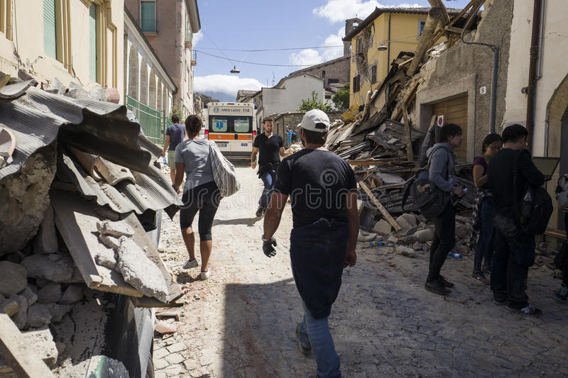 Rubble from earthquake, Rieti Emergency Camp, Amatrice, Italy. Survivors and emergency workers in rubble of Rieti Emergency camp, Amatrice, Italy stock images