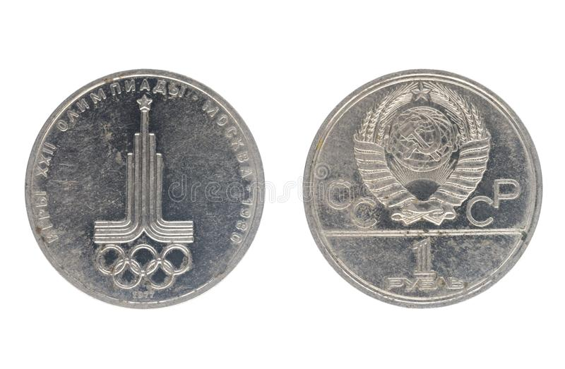 1 rubel, visar lekar av XXIIEN Olympiad, Moskva, 1980 royaltyfri bild