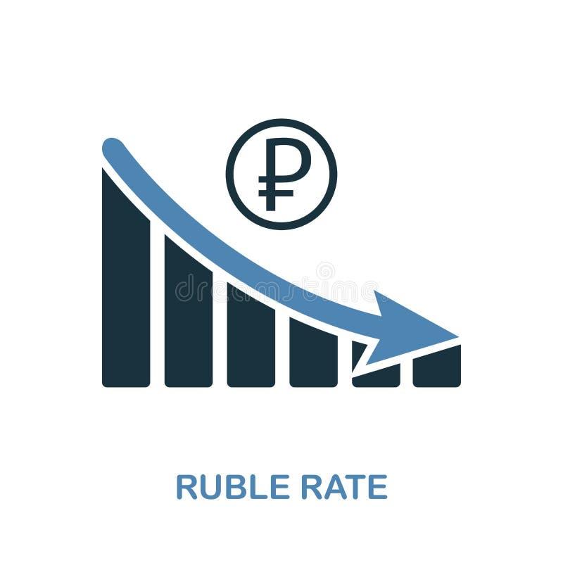 RubelRate Decrease Graphic symbol Monokrom stildesign från diagramsymbolssamling Ui Perfekt enkel pictogramrubel r för PIXEL royaltyfri illustrationer