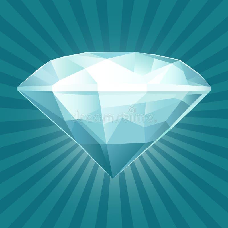 Rubi brilhante no fundo azul ilustração royalty free