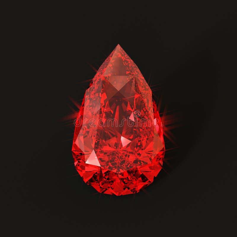 Rubi dado forma gota do sangue ilustração do vetor