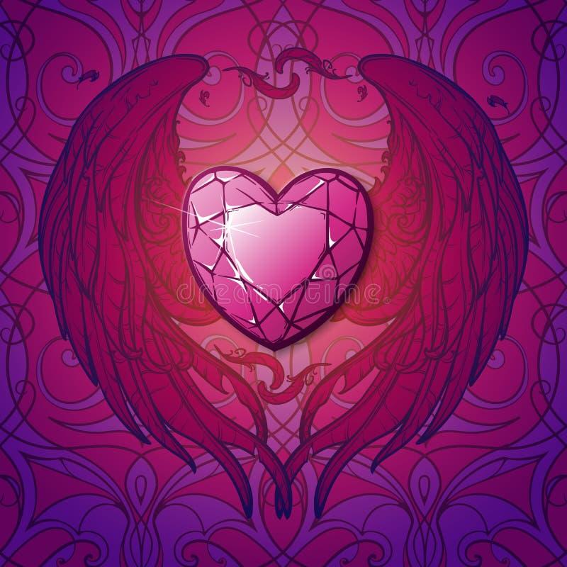 Rubi e st Valentine& x27 do coração das asas; cartão de s ilustração do vetor