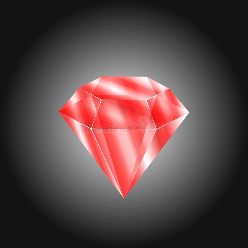 Rubi redondo vermelho realístico da gema Pedra preciosa colorida para usar-se como a decoração do logotipo, do ícone ou da Web ilustração stock
