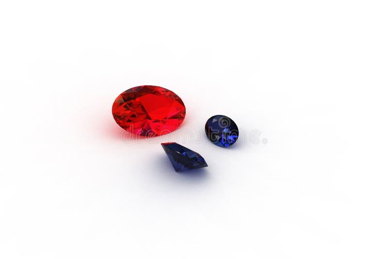 Rubi vermelho oval e pares de Gemstones da safira ilustração stock