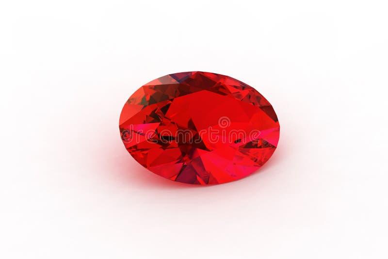 Rubi vermelho oval - a raia Photorealistic seguida rende ilustração royalty free