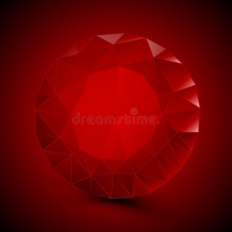Rubi vermelho redondo ilustração stock