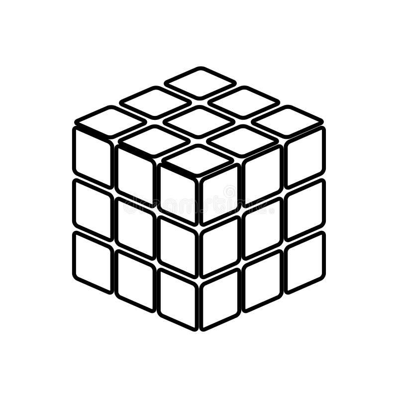 Rubic ` s立方体比赛形状它是黑象 向量例证