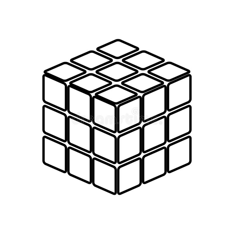 Rubic`s cube game shape it is black icon . Simple style vector illustration
