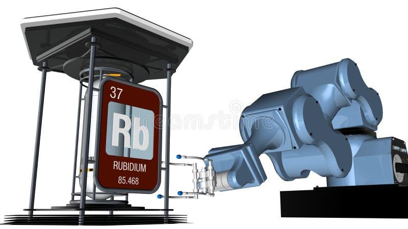 Rubidiumsymbool in vierkante vorm met metaalrand voor een mechanisch wapen dat een chemische container zal houden 3d geef terug stock illustratie