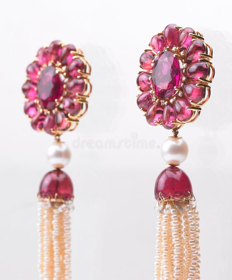 Rubies Earrings royalty free stock images