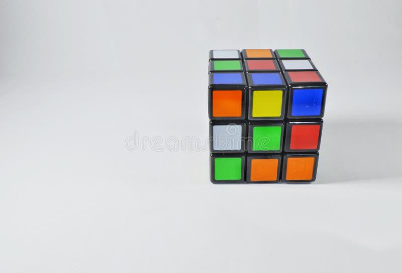 Rubik在白色背景的` s立方体 图库摄影
