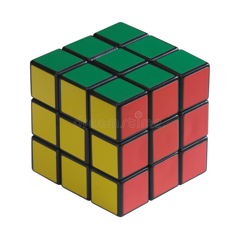 Rubik cube. Puzzle on white background royalty free stock photo