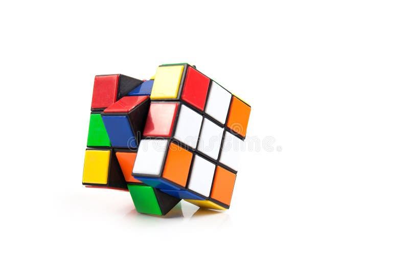 Rubik Cube isolated on white background. Brainteaser royalty free stock image