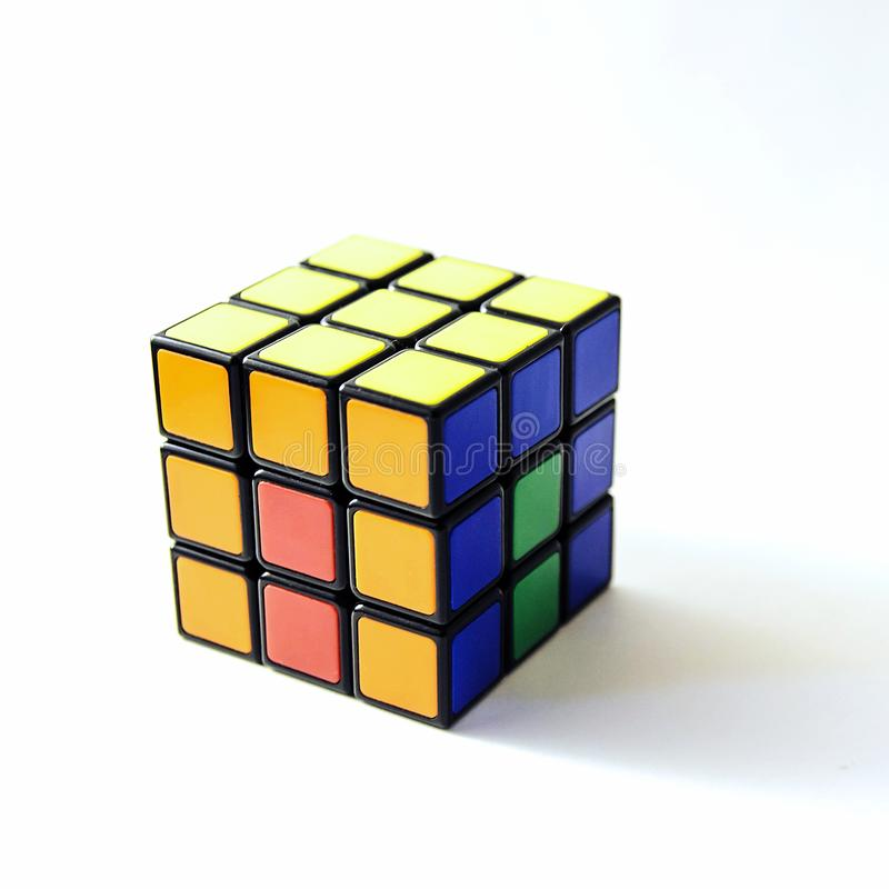 Rubik cube pattern. Blue, yellow, red, ogange, green. In a classic Rubik`s Cube, each of the six faces is covered by 9 stickers, among six solid colours royalty free stock photos